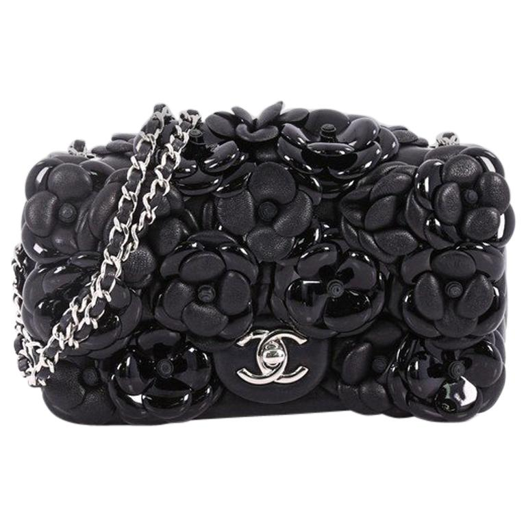 1c6fc110bd84 Chanel CC Camellia Flap Bag Patent and Leather Embellished Lambskin Mini  For Sale