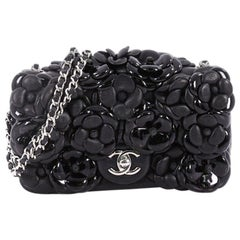 Chanel CC Camellia Flap Bag Patent and Leather Embellished Lambskin Mini
