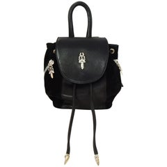 Chrome Hearts Black Suede and Leather Silver Hardware Mini Iggy Backpack Bag
