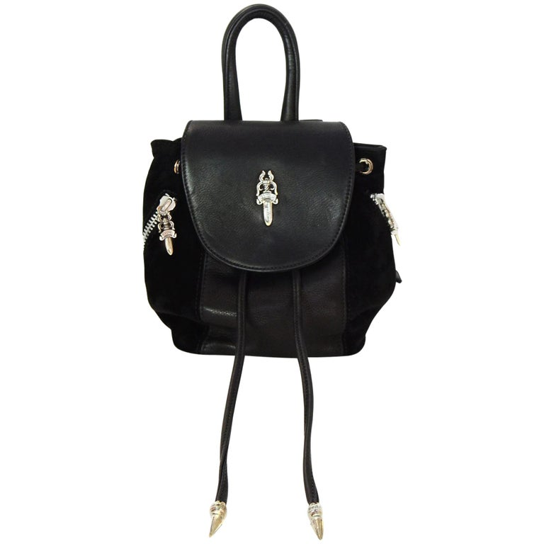 556b9aa44fb8 Chrome Hearts Black Suede and Leather Silver Hardware Mini Iggy Backpack Bag  For Sale