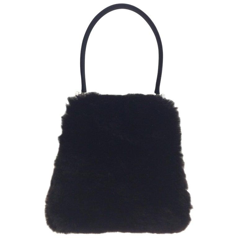 Judith Leiber Black Mink Handbag