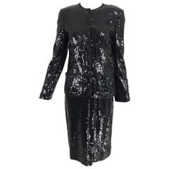 Chanel black sequin cocktail suit Winter 82-83 Lagerfelds 1st RTW collection