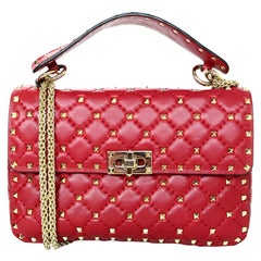 Valentino Red Leather Medium Goldtone Rockstud Spike Flap Bag