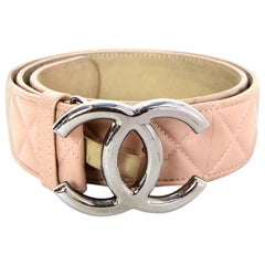 Chanel 2014 Nude Lambskin Leather Quilted CC Belt sz 90/32