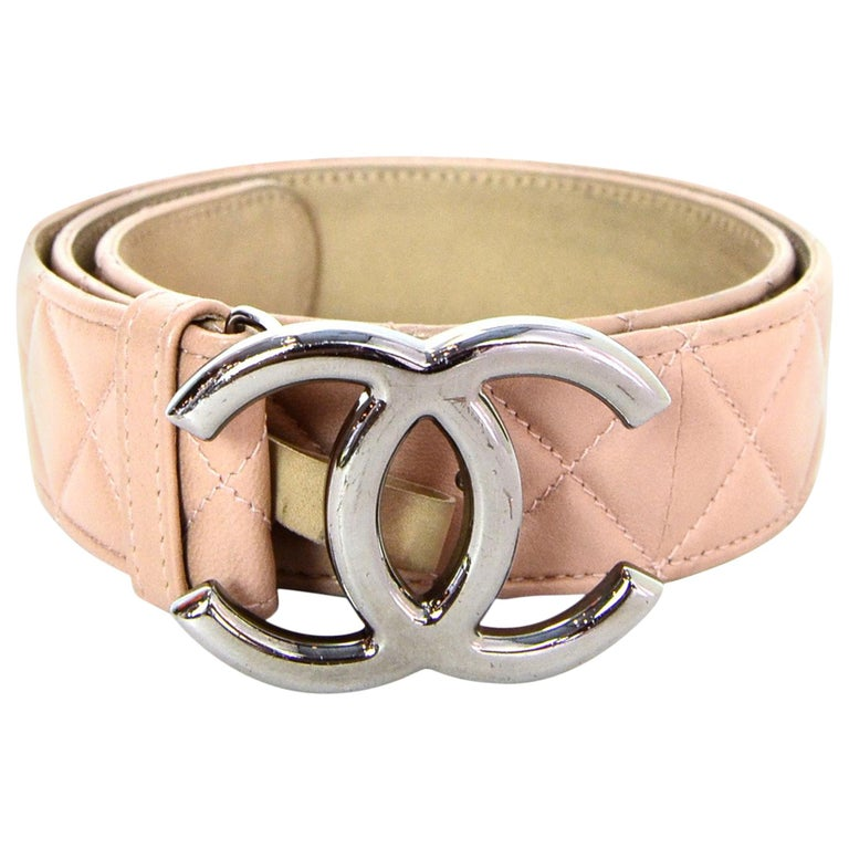 Chanel 2014 Nude Lambskin Leather Quilted CC Belt sz 90/32 For Sale