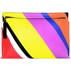 Loewe Multi-color Leather Stripe T-Pouch Flat Clutch Bag