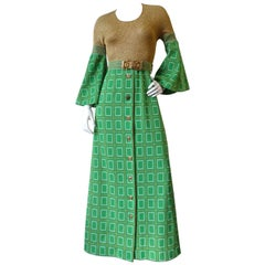 1960s Aled Couture Flounce Sleeve Lurex Dress