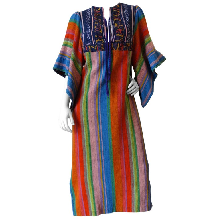 1970s Rikma Angel Sleeve Striped Dress For Sale
