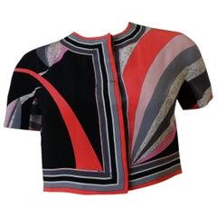 1960s Emilio Pucci Printed Silk Cropped Top