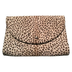 1980s Dominique Aurientis Paris Leopard Print Stenciled Calfskin Shoulder Bag