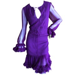 Tom Ford Sheer Purple Silk Chiffon Ruffle Trim Cocktail Dress w Keyhole Detail