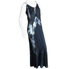 Alexander McQueen for McQ  Long Sheer Black Lace Dress Size L