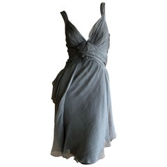 Christian Dior by John Galliano Dove Gray Silk Cocktail Dress Size 38