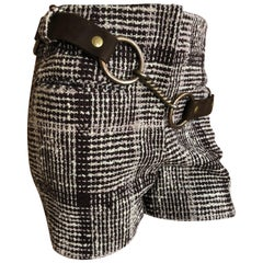 Cardinali Silk Lined Plaid Tweed Hot Pants w Bold Brass Hardware Leather Belt