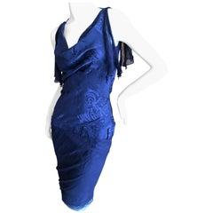 Christian Dior by John Galliano Navy Blue Chrysanthemum Print Backless Dress 36