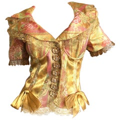 Christian Dior Gianfranco Ferre Numbered Demi Couture Gold Brocade Silk Jacket