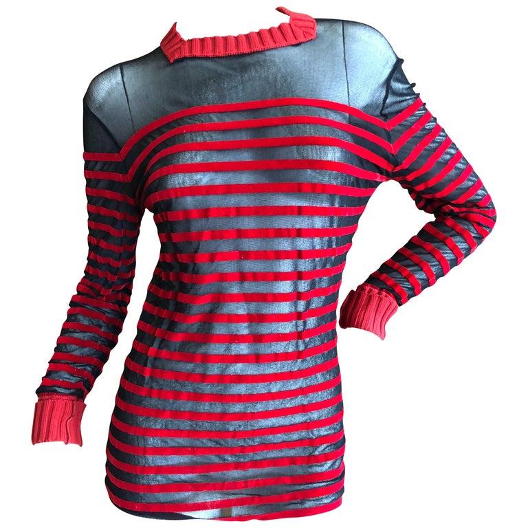 Jean Paul Gaultier Classique 1998 Sheer Velvet Stripe Sailor Shirt w Knit Detail