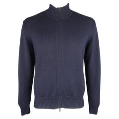 LORO PIANA Size L Navy Ribbed Knitted Cashmere / Cotton Zip Cardigan