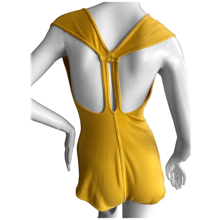 Azzedine Alaia  Vintage 1980's Yellow Cross Back Body Suit Size L For Sale
