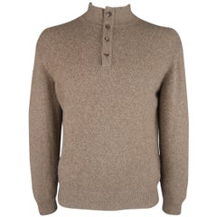 LORO PIANA Size L Brown Heather Cashmere Button Mock Neck Sweater