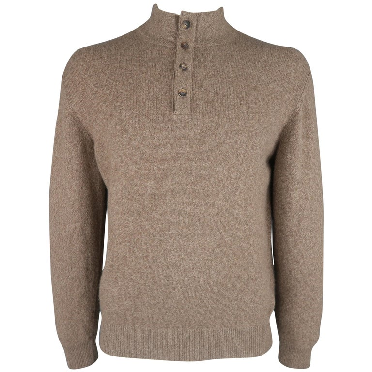 LORO PIANA Size L Brown Heather Cashmere Button Mock Neck Sweater For Sale