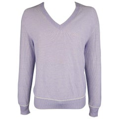 TOM FORD Size XL Purple Heather Cotton / Cashmere / Silk V Neck Pullover