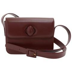Cartier Must de Carter Line Burgundy Leather Medium Shoulder Bag