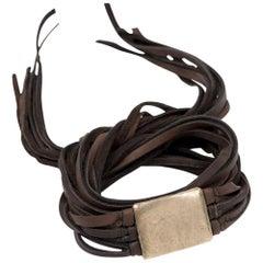Leanna Leather and Bronze Wrap Bracelet