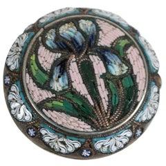 Italian Micro Mosaic 800 Silver Iris Pin, 19th Century
