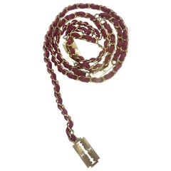 CHANEL Vintage Chain Belt and Razor Blades in Gilt Metal and Red Leather