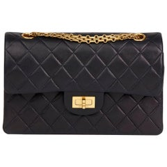1997 Chanel Navy Quilted Lambskin Vintage Small Classic Double Flap Bag