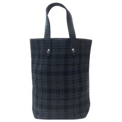 HERMES Small Bag in Black and Charcoal Fabric and Leather