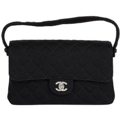 1996 Chanel Black Quilted Jersey Vintage Medium Double Sided Classic Flap Bag