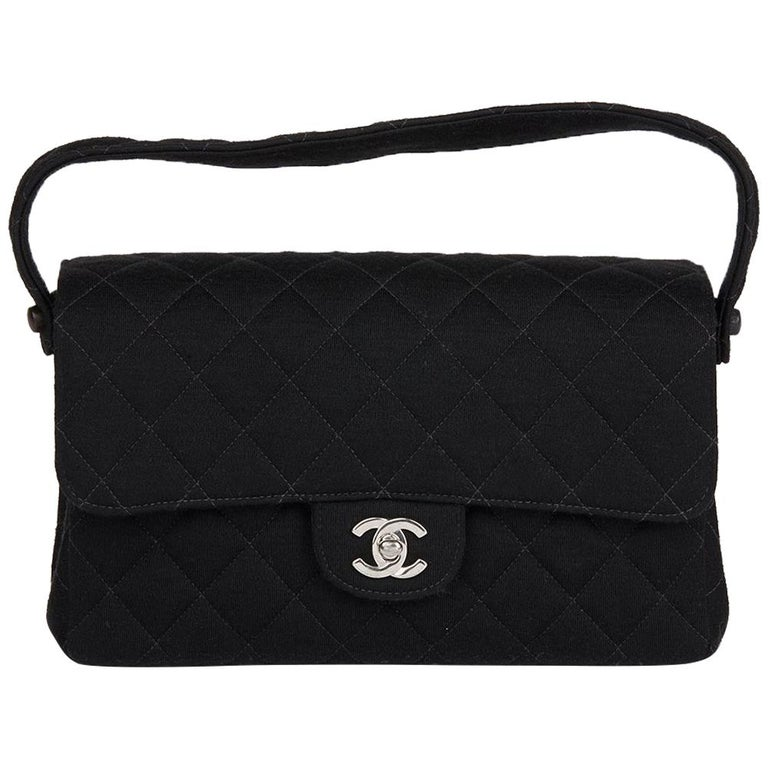 666992450509 1996 Chanel Black Quilted Jersey Vintage Medium Double Sided Classic Flap  Bag For Sale