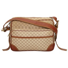 Celine White x Brown Macadam Jacquard Crossbody Bag