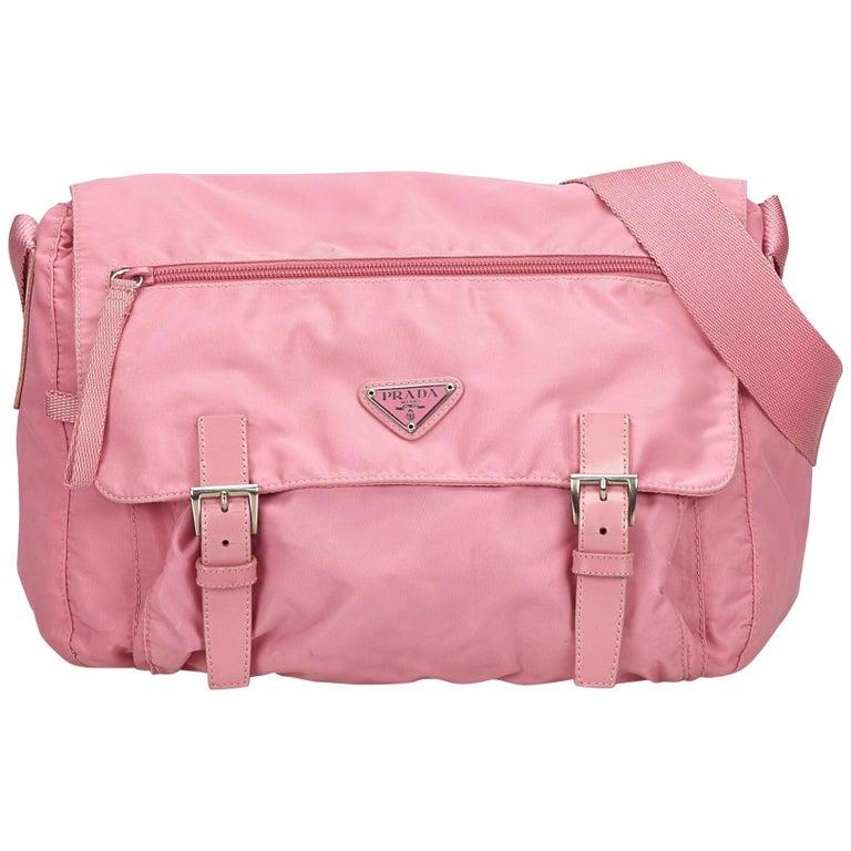 6a866a31885d Prada Pink Nylon Messenger Bag For Sale. This crossbody ...