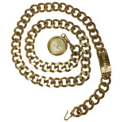 CHANEL Vintage Chain Belt in Gilt Metal