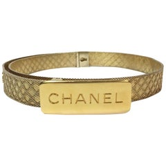 CHANEL Vintage Belt in Gilt Metal Mesh Size 68EU
