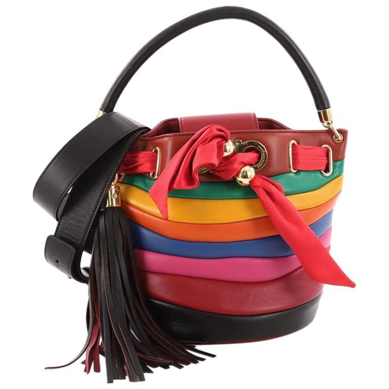 13e82944c1 Salvatore Ferragamo Solaria Rainbow Convertible Bucket Bag Striped Leather  Small For Sale