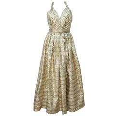 Gold Seersucker Striped Halter Top Evening Dress, circa 1980