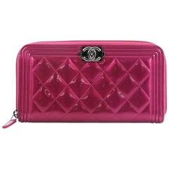 Chanel Boy L-Gusset Zip Wallet Quilted Patent Long