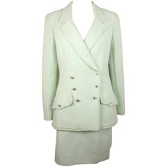 Chanel White/Green Cotton and Wool Double-Breasted Jacket and Skirt Ensemble