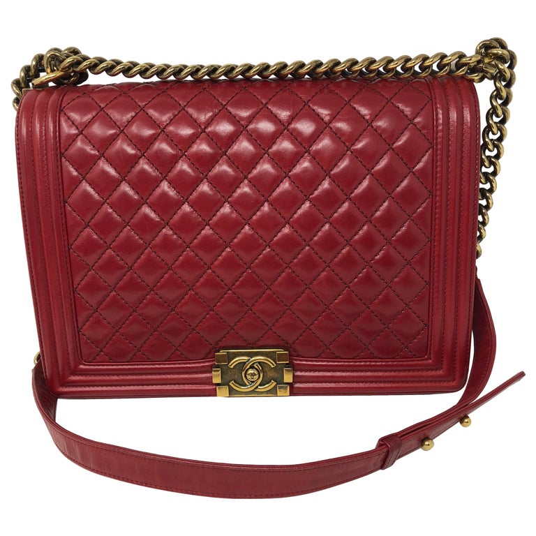 0e46b95400e2 Chanel Boy Red Large Bag For Sale. Chanel Red Boy in large size with antique  gold hardware.