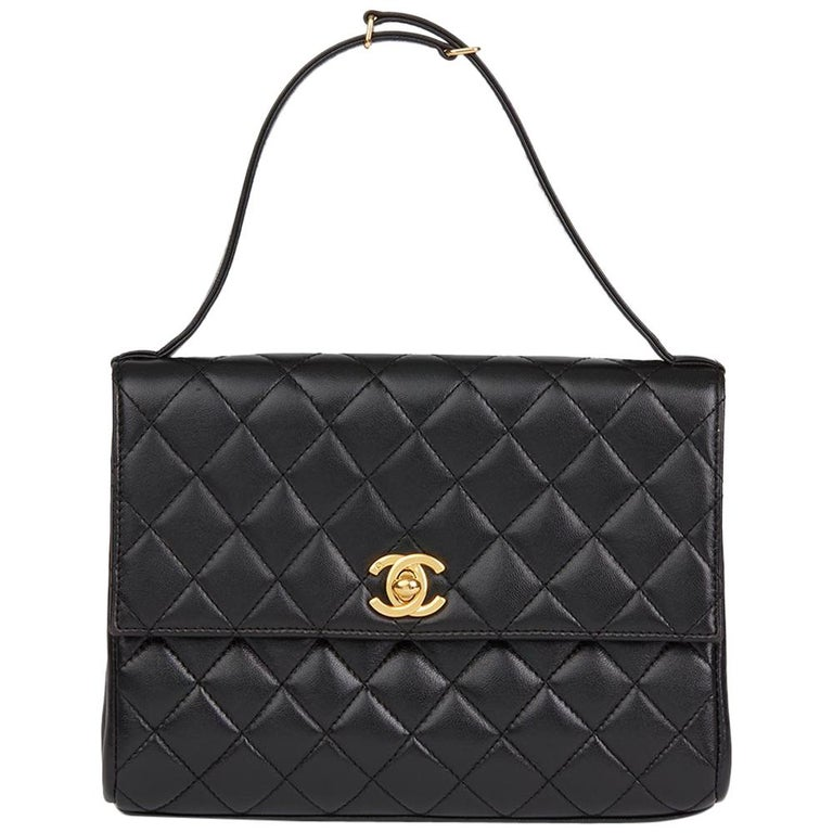1997 Chanel  Black Quilted Lambskin Vintage Classic Top Handle Clutch