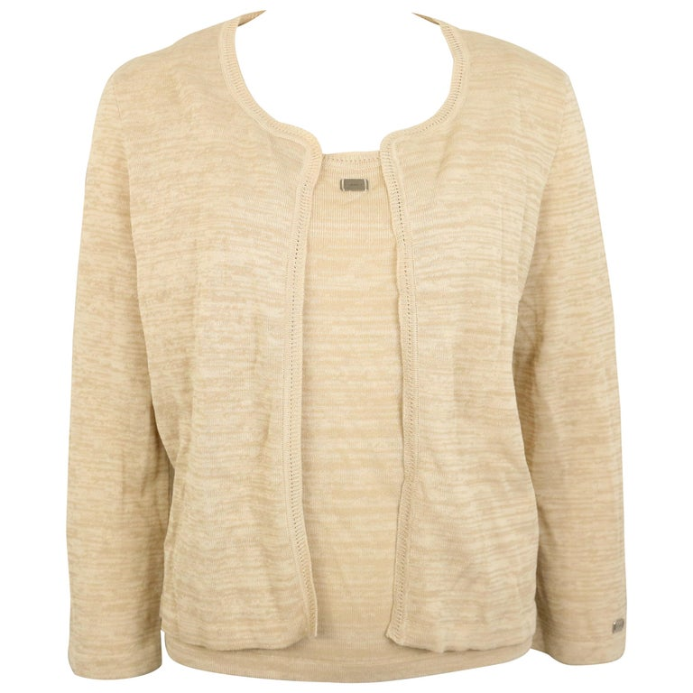 Chanel Beige Cotton and Rayon Cardigan