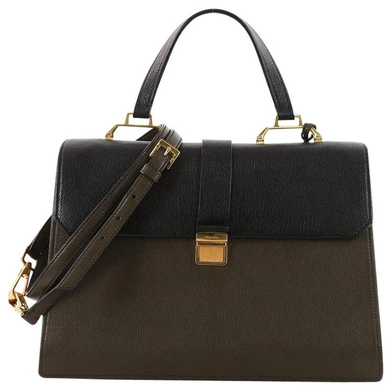 5a5ce6e01249 Miu Miu Bicolor Madras Convertible Compartment Top Handle Bag Leather  Medium at 1stdibs