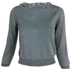 Prada silver metallic grey rhinestone collar cardigan sweater