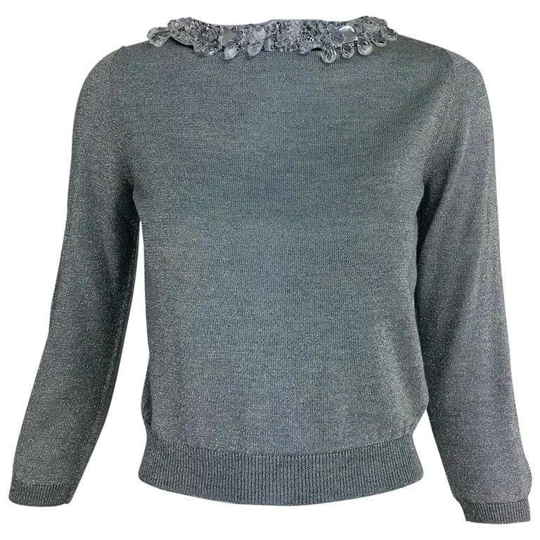 3c61847ec Prada silver metallic grey rhinestone collar cardigan sweater For ...