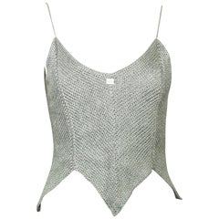 Chanel Silver Knitted Scalloped Cropped Vest Top