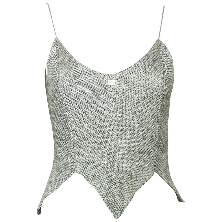 Chanel Silver Knitted Scalloped Cropped Vest Top  For Sale